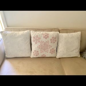 Other - Set of 3 Glam white throw pillows